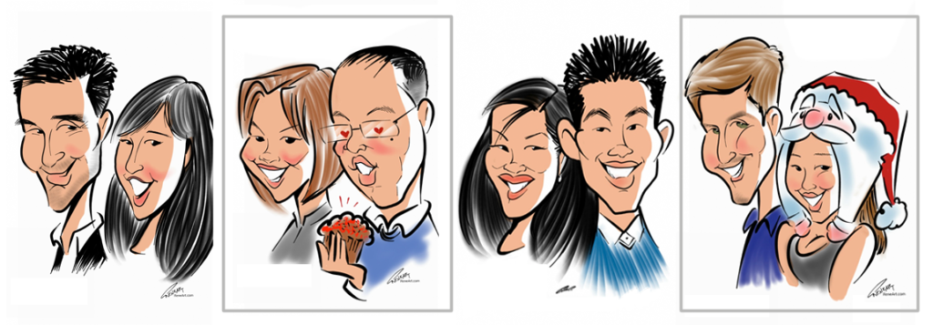 Caricature couples from live digital events.